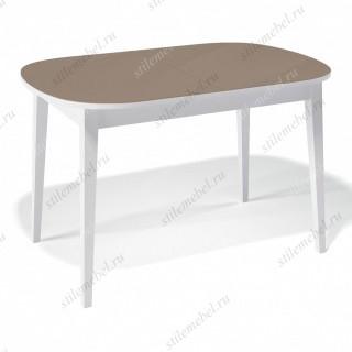 Стол 1300М белый/стекло капучино