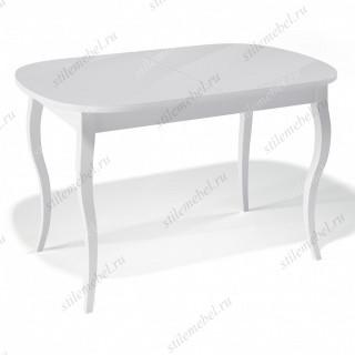 Стол 1300С белый/стекло белое