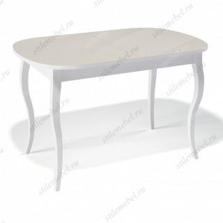 Стол 1300С белый/стекло крем