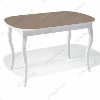Стол 1300С белый/стекло капучино