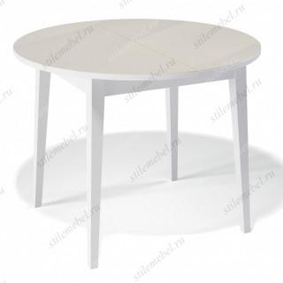 Стол 1000М белый/стекло крем