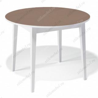 Стол 1000М белый/стекло капучино