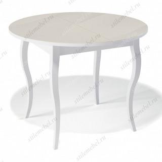 Стол 1000С белый/стекло крем