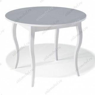 Стол 1000С белый/стекло серое