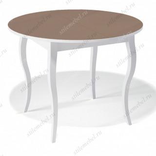 Стол 1000С белый/стекло капучино