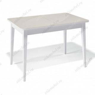 Стол 1100М белый/стекло крем глянец