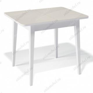 Стол 900М белый/стекло крем