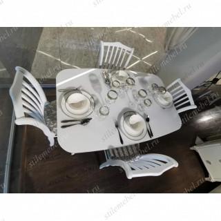 Обеденная группа 1200М/С белый/стекло белое-103С белый/карамель