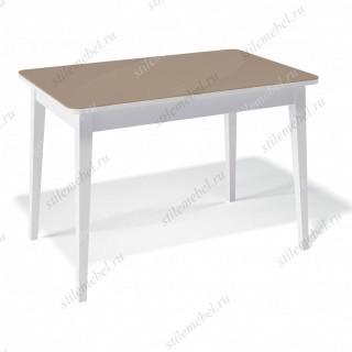 Стол 1100М белый/стекло капучино глянец
