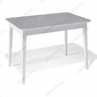 Стол 1100М белый/стекло серое глянец