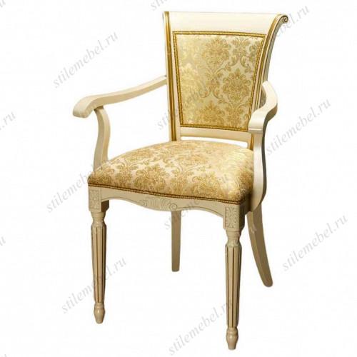 Кресло С-14 эмаль/патина золото ткань