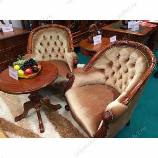 Комплект 2 кресла Louis Tub chair MK-CH01 БЕЖЕВЫЙ ВЕЛЮР и столик DAISY MK-TBL01 Daisy table, NBA Pecan M