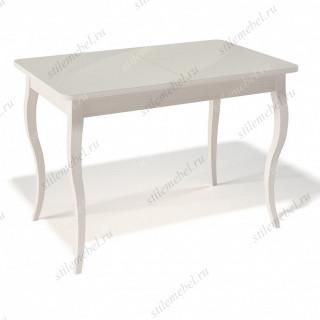 Стол 1100С крем/стекло крем глянец