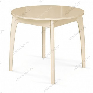 Стол обеденный №46 ДН4 слоновая кость/ стекло бежевое