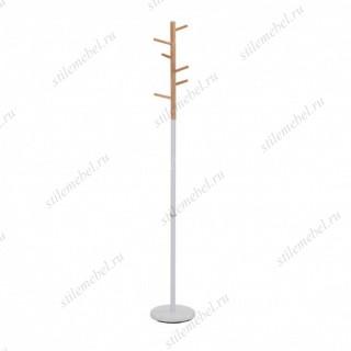 MK-2371-WT Вешалка напольная цвет: белый/натуральное дерево
