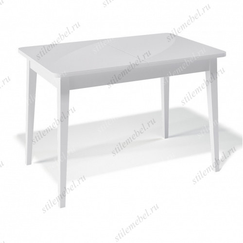 Стол 1100М белый/стекло белое глянец