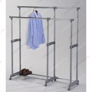 MK-6306. (CH-4577) Вешалка для гардеробных двойная с доп.отделом