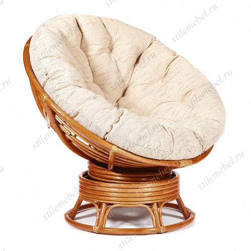Кресло-качалка плетёное «Папасан» (Papasan 23/01B) + Подушка Cognac (коньяк)