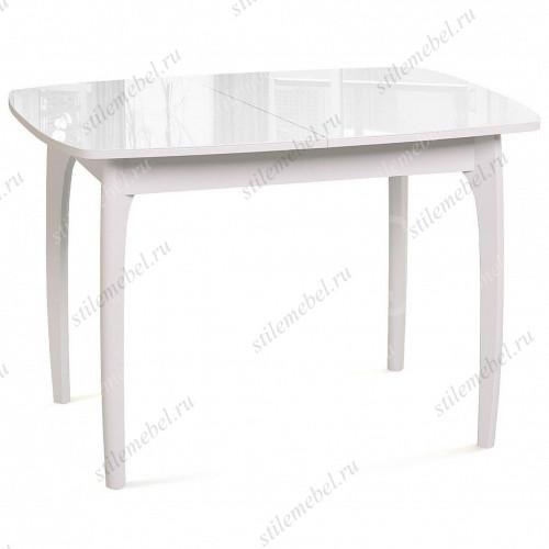 Стол обеденный №40 ДН4 белый/стекло белое
