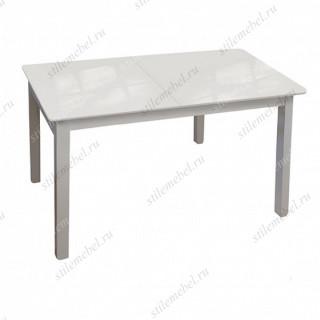 Стол обеденный №41 белый/стекло белое