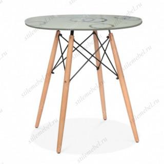 gh-t 10 B стол обеденный, стекло кремовое, узор круги