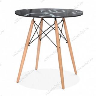 gh-t 10 B стол обеденный, стекло черное, узор круги