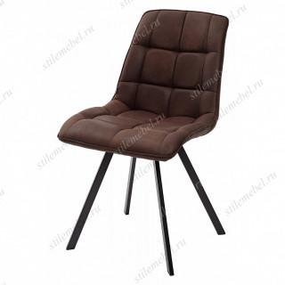 Стул MIMI коричневый с черными ножками, микрофибра PK-03