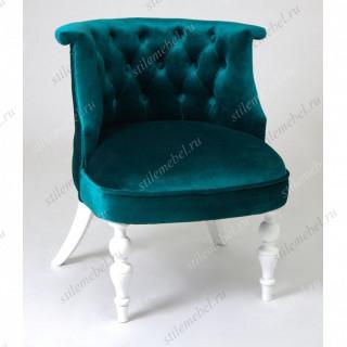Кресло Бархат (эмаль белая /23 - изумрудный)