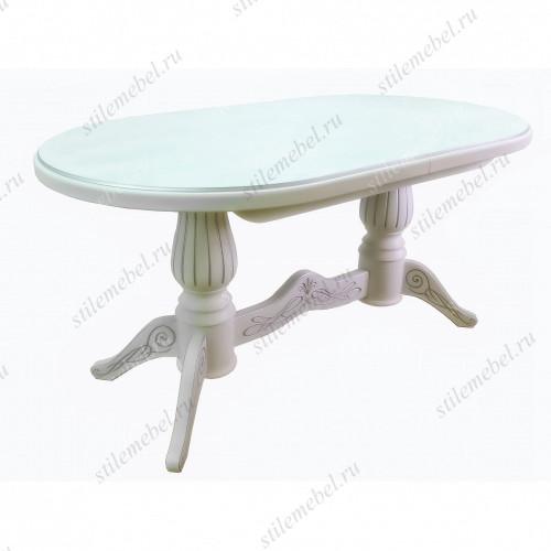Стол обеденный Рифей 01 раздвижной белый/патина 160/200*90