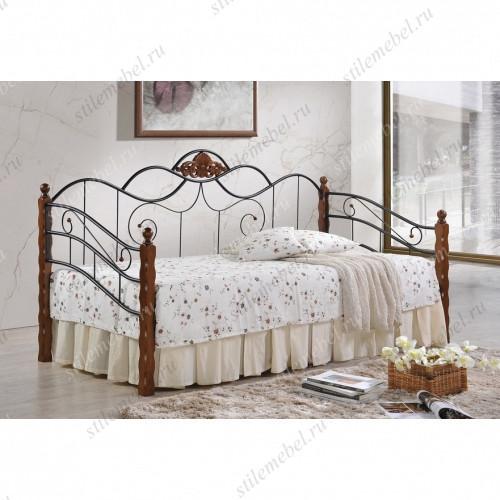 Кровать-кушетка «Канцона» (Canzona) черный/красный дуб