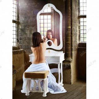 Туалетный столик с зеркалом и банкеткой Джульетта (молочный дуб)