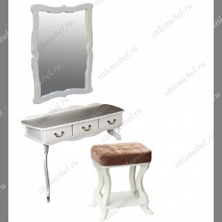 Туалетный столик Берже + зеркало с пуфом (белый ясень)