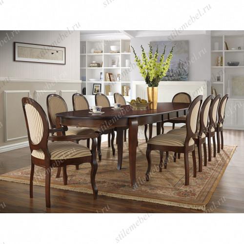 Обеденная группа стол Kenzo ( KZ-T10EX3L ), 4 стула Fiona ( FN-SC ) и 2 кресла Fiona ( FN-AC ) Tobacco