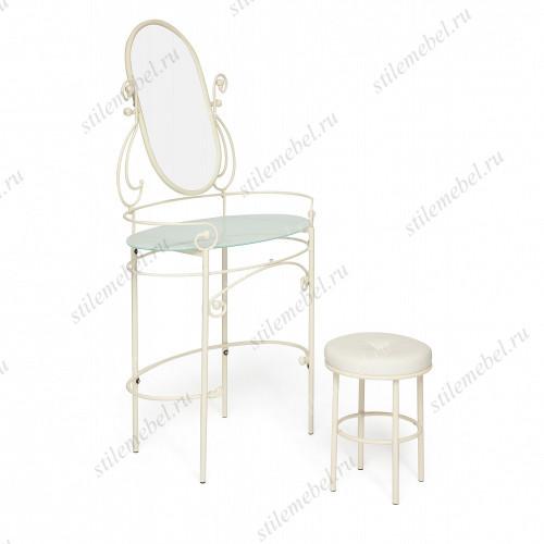 Туалетный столик с пуфом «Альберт белый» (Albert)