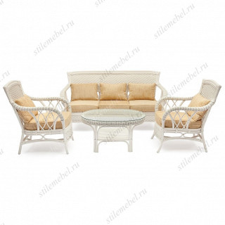 "КОМПЛЕКТ для отдыха ""ANDREA"" (диван + 2 кресла + журн. столик со стеклом + подушки) WHITE"