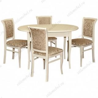 Обеденная группа стол Лемур и 4 стула М-15 слоновая кость ткань 38