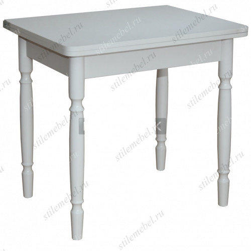 Стол обеденный ЛС-831 (столешница Кожа белая 0029/ ноги точеные Белые)