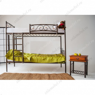 Двухъярусная кровать Валерия-DD (90х200) (КОРИЧНЕВЫЙ БАРХАТ)