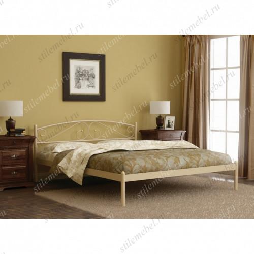 Кровать двуспальная Валерия с изножьем (160х200/металлическое основание) Белый