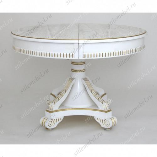 Стол обеденный Кардинал d-1100 (круглый/ матовый + патина золото) Белый