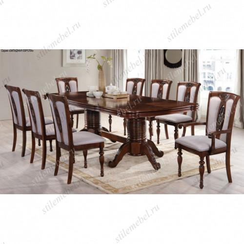Обеденная группа стол KRONOS, 2 кресла и 4 стула VENERA цвет: Light Walnut