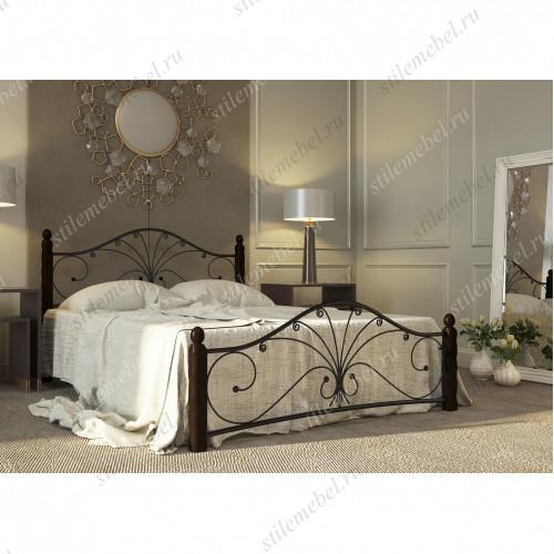 Кровать Фортуна 1 чёрный/шоколад (160х200)