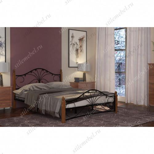 Кровать Фортуна 1 чёрный/махагон (160х200)